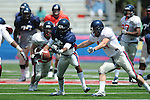 Blue team Ja-Mes Logan drops a pass in Mississippi's Grove Bowl in Oxford, Miss. on Saturday, April 17, 2010. The play was called back because of penalty.