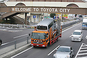 A bridge reading 'Welcome to Toyota City',  Toyota city, Japan, Monday, January 28th 2008.