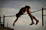 "Kyle Wessel '14 from Missouri University pole vaults during the 2011 Kip Janvrin Open at Simpson College on Friday, narrowly brushing against the bar at a height of 4.70m (15' 5"")."