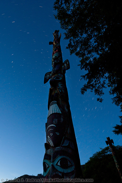 Stars and totem at Totem Bight State Historical Park, near Ketchikan, Alaska.