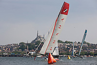 Extreme Sailing Series 2011. Act 3.Turkey . Istanbul..Luna Rossa skippered by Max Sirena with teammates Paul Campbell James, Alister Richardson and Manuel Modena.