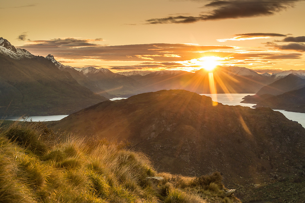 Sunset over Queenstown, South Island, New Zealand