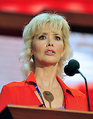 Actress Janine Turner participates in a microphone check on the podium of the 2012 Republican National Convention prior to the start of proceedings in Tampa Bay, Florida on Monday, August 27, 2012..Credit: Ron Sachs / CNP.(RESTRICTION: NO New York or New Jersey Newspapers or newspapers within a 75 mile radius of New York City)