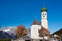 The 18th century baroque style Pfarrkirche St. Bartholomäus church of Bartholomäberg, in Vorarlberg (Austria, 15/10/2011)