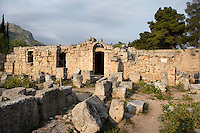 CORINTH, GREECE - APRIL 16 : A general view of the West Shops, on April 16, 2007 in Corinth, Greece. A row of shops, seen here in the early morning light, forms the west side of the forum. There is an entrance to the Forum through the middle of the row. An inscription on one of the shops refers to repairs after earthquake damage in 375 AD. Corinth, founded in Neolithic times, was a major Ancient Greek city, until it was razed by the Romans in 146 BC. Rebuilt a century later it was destroyed by an earthquake in Byzantine times.(Photo by Manuel Cohen)