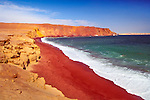 Lagunillas Bay and its Red Beach in the Paracas National Reserve, a subtropical coastal desert on the Pacific Ocean in southern Peru.