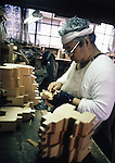 A craftsman uses a variety of knives and chisels to give the toy wooden horse a more detailed appearance at the Hachinohe Toy Wooden Horse Factory in Hachinohe, Japan. The Hachinohe horse or Yawata Uma is made in a small factory, where, for eight hours a day, six days a week, 11 workers cuts, chisel, sand, paint and shellac wooded horses of all sizes ranging from just over an inch to nearly a foot high. (Jim Bryant Photo).....