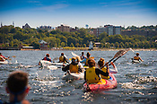 Burlington, Vermont.  UVM Freshman TREK students paddle into Burlington Harbor. Burlington, Vermont and Lake Champlain