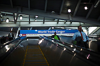 People goes into the train station at the World Trade Center while it has reached 1,776 feet, what makes it, the tallest building in the Western Hemisphere in New York,  May 10, 2013, Photo by Eduardo Munoz Alvarez / VIEWpress.