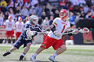 College Park, MD - April 8, 2017: Maryland Terrapins Matt Rambo (1) passes the ball during game between Penn State and Maryland at  Capital One Field at Maryland Stadium in College Park, MD.  (Photo by Elliott Brown/Media Images International)