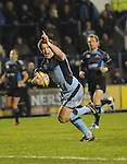 Dafydd Hewitt points to the sky as he heads for the try line. Cardiff Blues V Glasgow Warriors, Magners league. © Ian Cook IJC Photography iancook@ijcphotography.co.uk www.ijcphotography.co.uk