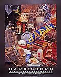 """Poster of memorabilia reminiscent of the city of Harrisburg in years gone by. Black border with the words """"Harrisburg"""" and """"Blair Seitz Photograph"""" at the bottom."""