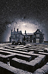 A young girl alone in the garden maze of a old house at night with stars