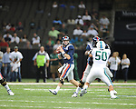 Ole Miss quarterback Bo Wallace (14) passes vs. Tulane in the first half at the Mercedes-Benz Superdone in New Orleans, La. on Saturday, September 22, 2012. Ole Miss won 39-0...