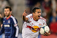 Tim Cahill (17) of the New York Red Bulls celebrates the team scoring a goal during the second half against the Chicago Fire. The New York Red Bulls defeated the Chicago Fire 5-2 during a Major League Soccer (MLS) match at Red Bull Arena in Harrison, NJ, on October 27, 2013.