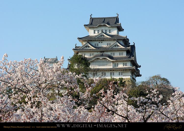Himeji Castle View from South with Sakura Shirasagi-jo White Heron Castle Himeji Japan