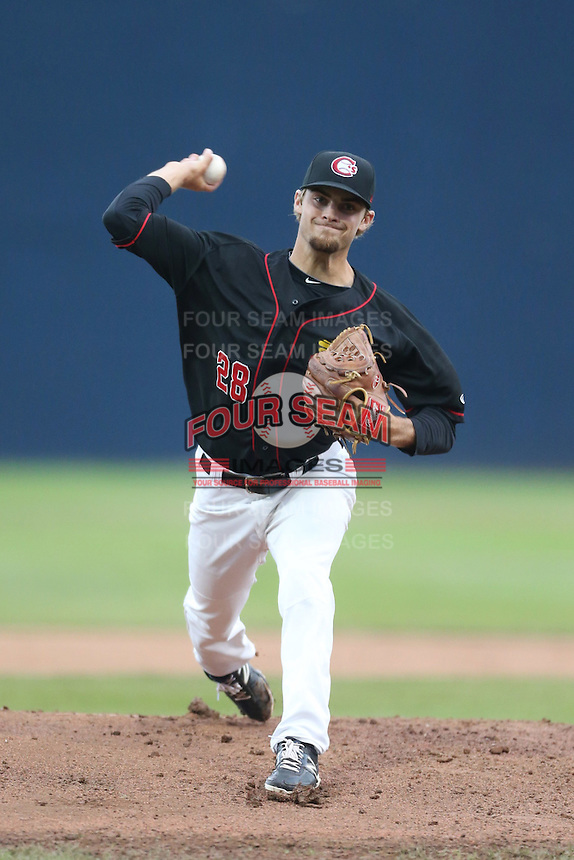 Chase Mallard #28 of the Vancouver Canadians pitches against the Hillsboro Hops at Nat Bailey Stadium on July 24, 2014 in Vancouver, British Columbia. Vancouver defeated Hillsboro, 5-2. (Larry Goren/Four Seam Images)