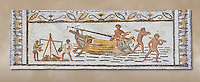 Late 4th century AD Roman mosaic depiction a harbour scene with men unloading and weighing goods. From Cathage, Tunisia.  The Bardo Museum, Tunis, Tunisia.