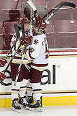 Ashley Motherwell (BC - 18), Alex Carpenter (BC - 5) - The Boston College Eagles defeated the visiting Mercyhurst College Lakers 4-2 (EN) on Friday, December 9, 2011, at Kelley Rink/Conte Forum in Chestnut Hill, Massachusetts.