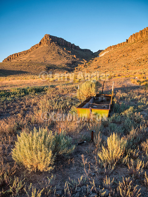 Water trough, Palisade Mesa at dawn, Big Sand Springs Valley, Nevada.