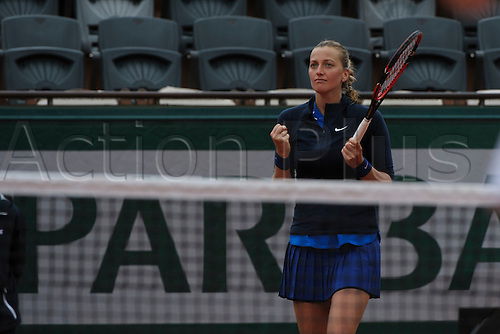 22.05.2016. Stade Roland Garros, Paris, France. Roland Garos French Open Tennis Day One.  Petra Kvitova (10) (CZE) celebrates her win over Danka Kovinic (MNE).  Kvitova won the match 6-2, 4-6, 7-5.