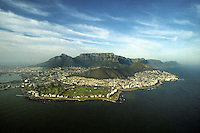 Aerial photo of Cape Town, South Africa and Table Mountain in 1996.