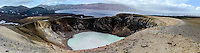 Iceland. Panorama with the Víti explosion crater on the north east shore of Oskjuvatn, Askja.
