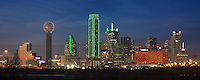 The Dallas skyline is illuminated on a cold December night. Prominent in this panorama are Reunion Tower and the Bank of America Plaza.