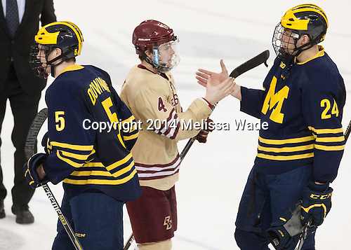Michael Downing (Michigan - 5), Teddy Doherty (BC - 4), Kevin Lohan (Michigan - 24) - The Boston College Eagles defeated the visiting University of Michigan Wolverines 5-1 (EN) on Saturday, December 13, 2014, at Kelley Rink in Conte Forum in Chestnut Hill, Massachusetts.