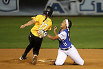 CHAPEL HILL, NC - FEBRUARY 24: Hampton's Daniella Milloy (16) tags Towson's Madison Wilson (17), but the umpire ruled Wilson safe at second base. The Hampton University Pirates played the Towson University Tigers on February, 24, 2017, at Anderson Softball Stadium in Chapel Hill, NC in a Division I College Softball match. Towson won 17-2 in a five inning run-rule game.