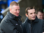 St Johnstone v St Mirren.....23.02.13      SPL.Steve Lomas and Danny Lennon share a joke before kick off.Picture by Graeme Hart..Copyright Perthshire Picture Agency.Tel: 01738 623350  Mobile: 07990 594431