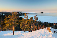 A winter view of nearly froze over Lake Superior from atop Sugarloaf Mountain. Marquette, MI