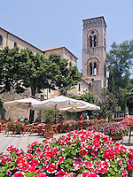 Open-air cafe and old architecture in Ravello, Amalfi Coast, Italy,  World Heritage Site