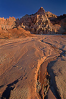 731950021 panaca formations and dry river bed at sunrise in cathedral gorge state park nevada