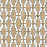 Navarra, a natural stone and ceramic waterjet mosaic shown in Fireclay Spanish Moss, Lavigne honed and Calacatta Tia polished, is part of the Miraflores Collection by Paul Schatz for New Ravenna Mosaics.<br />