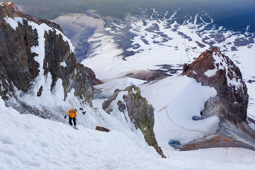 """""""STEEP SLOPES"""" -- A climber ascends the Old Chute on Oregon's Mount Hood in summer."""