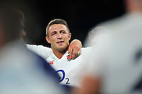 Sam Burgess of England is all smiles after the match. QBE International match between England and France on August 15, 2015 at Twickenham Stadium in London, England. Photo by: Patrick Khachfe / Onside Images