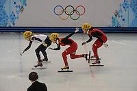 OLYMPICS: SOCHI: Iceberg Skating Palace, 13-02-2014, Shorttrack, 500m Relay Ladies, Semifinals, Elise Christie (#116 | GBR), Jianrou Li (#111 | CHN), Qiuhong (#112 | CHN), ©photo Martin de Jong