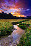 Sunset over Tuolumne Meadows along Budd Creek, Yosemite National Park, California USA