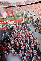 The team enters the field before the first  half of their game against Northwestern University at Ohio Stadium in Columbus, Ohio on October 29, 2016. (Columbus Dispatch photo by Brooke LaValley)