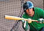 29 June 2012: Vermont Lake Monsters' outfielder Dayton Alexander works on bunting practice drills prior to a game against the Lowell Spinners at Centennial Field in Burlington, Vermont. Mandatory Credit: Ed Wolfstein Photo