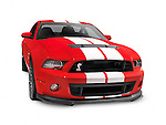 2013 Ford Mustang Shelby GT500 red sports car isolated on white background with clipping path