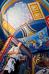 Miloje Milinkovic iconographer and his frescos being painted inside St. Sava Serbian Orthodox Church, Jackson, Calif.