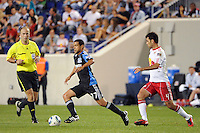 Geovanni (77) of the San Jose Earthquakes is marked by Rafael Marquez (4) of the New York Red Bulls. The New York Red Bulls defeated the San Jose Earthquakes 2-0 during a Major League Soccer (MLS) match at Red Bull Arena in Harrison, NJ, on August 28, 2010.