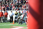 Ole Miss wide receiver Vince Sanders (10) scores vs. Arkansas cornerback Tevin Mitchel (8) at War Memorial Stadium in Little Rock, Ark. on Saturday, October 27, 2012. Ole Miss won 30-27...