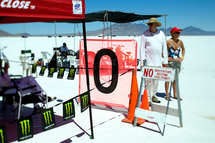 © 2010  David Burnett .Contact Press Images.212 695 7750..August 15, 2010.Wendover, Utah.Bonneville Salt Flats race course. Arriving of cars and teams.  Running as seen from starting line,and the 4 mile timing area..Old Wendover Air Field (was a training site for heavy B29 bombers in 1944/45)