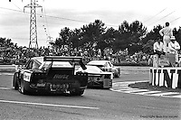 LE MANS, FRANCE: The Garretson Development Porsche 935 K3 009 00030 of Skeeter McKitterick, Bob Garretson, Ray Ratcliff and Anny-Charlotte Verney follows two other cars through the Mulsanne Corner during the 24 Hours of Le Mans on June 20, 1982, at Circuit de la Sarthe in Le Mans, France.