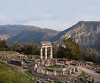 DELPHI, GREECE - APRIL 11 : A view from the top of the Tholos with the Mount Parnassus in the distance, on April 11, 2007 in the Sanctuary of Athena Pronaia, Delphi, Greece. Circular marble structure, the Tholos is in the Doric order and was built at the beginning of the 4th century BC. (Photo by Manuel Cohen)