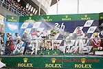 Winners celebrate Winners Romain Dumas (FRA) / Neel Jani (CHE) / Marc Lieb (DEU) driving the #2 LMP1 Porsche Team (DEU) Porsche 919 Hybrid  Second Stephane Sarrazin (FRA) / Mike Conway (GBR) / Kamui Kobayashi (JPN) driving the LMP1 Toyota Gazzo Racing Toyota TS050 - Hybrid6 Third Lucas Di Grassi (BRA) / Loic Duval (FRA) / Oliver Jarvis (GBR) driving the LMP1 Audi Sport Team Joest Audi R18 Hybrid LMP1 Nicolas Prost (FRA) / Nelson Piquet Jr (BRA) / Nick Heidfeld (DEU) driving the LMP1 Rebellion Racing Rebellion R-One - AER 24hr Le Mans 18th June 2016 24hr Le Mans 18th June 2016