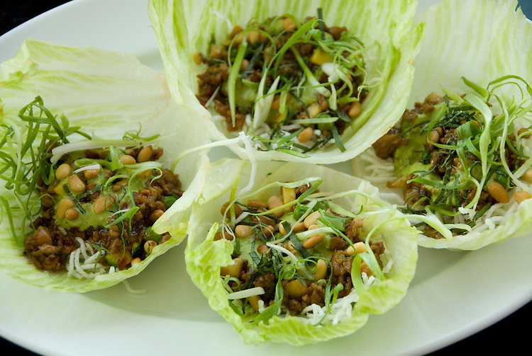 Minnesota, Twin Cities, Minneapolis-Saint Paul: Lettuce and chicken appetizer at Wolfgang Puck's restaurant 20-21 at Walker Art Center, Minneapolis..Photo mnqual223-75256..Photo copyright Lee Foster, www.fostertravel.com, 510-549-2202, lee@fostertravel.com.